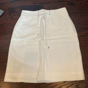 NEW ANN TAYLOR White Linen Lace Up A-Line Skirt